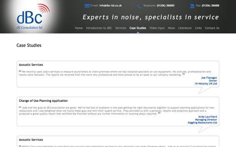 Screenshot of Case Studies Page dbc-ltd.co.uk - Case Studies - dB Consultation Ltd - captured Oct. 5, 2014