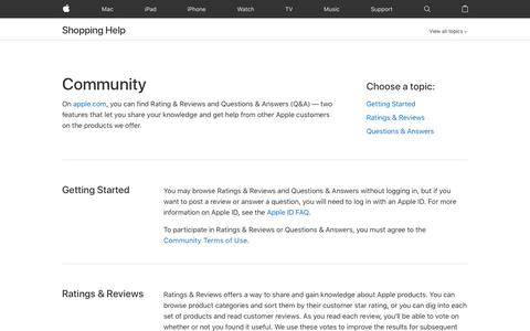 Screenshot of FAQ Page apple.com - Questions & Answers - Shopping Help - Apple - captured July 11, 2018