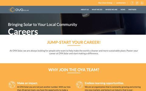 Screenshot of Jobs Page oyasolar.com - Career - OYA Solar - captured Oct. 20, 2018