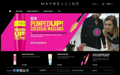 Screenshot of Home Page maybelline.com - Makeup Products, Makeup Tips and Fashion Trends - Maybelline New York - captured Sept. 19, 2014