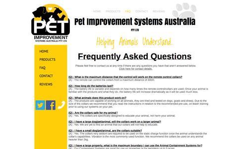 Screenshot of FAQ Page petimprovementsystems.com.au - FAQ - Pet Improvement Systems Australia Pty Ltd - captured Oct. 2, 2014