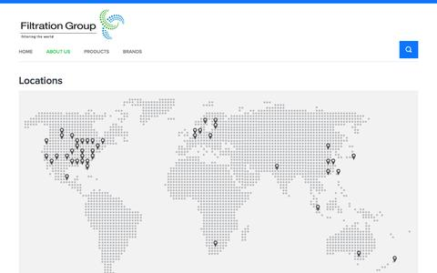 Screenshot of About Page Locations Page filtrationgroup.com - Locations | Filtration Group - captured Oct. 27, 2014