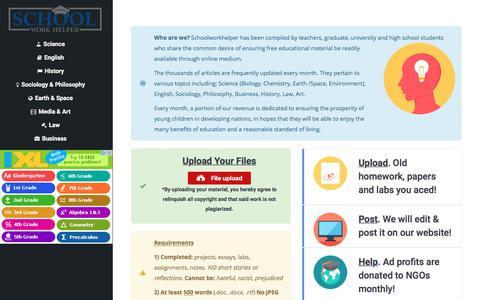 Screenshot of Home Page schoolworkhelper.net - Online Homework Help - SchoolWorkHelper - captured Oct. 30, 2017
