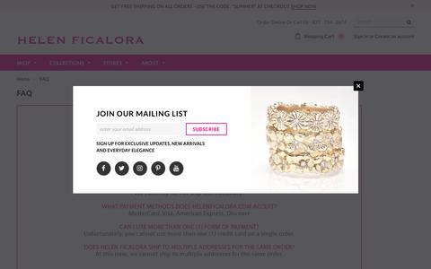 Screenshot of FAQ Page helenficalora.com - FAQ – Helen Ficalora - captured Sept. 22, 2018