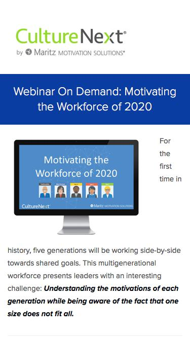 Motivating the Workforce of 2020 Webinar On Demand