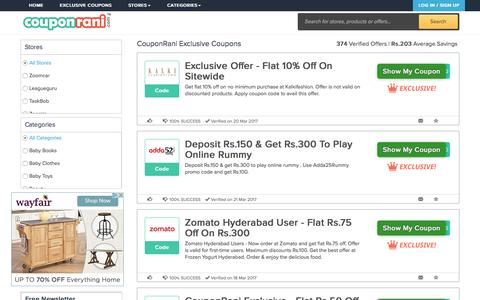 Exclusive Coupons from CouponRani - Best Deals, Discount Offers