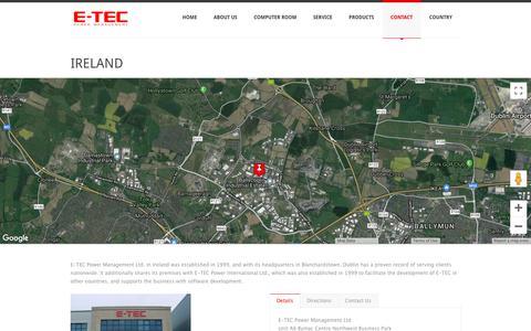 Screenshot of Contact Page e-tecpowerman.com - IRELAND - E-TEC Power Management - captured Sept. 25, 2018