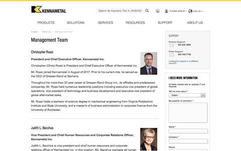 Screenshot of Team Page kennametal.com - Management Team - captured March 20, 2018