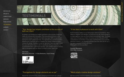 Screenshot of Testimonials Page arris-architects.com - Arris Architects Pvt. Ltd - captured Oct. 4, 2014