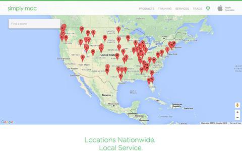 Screenshot of Locations Page simplymac.com - Simply Mac - captured Jan. 13, 2016