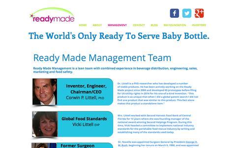 Screenshot of Team Page readymadeinc.com - Management Team | Ready Made Inc - captured Dec. 19, 2016
