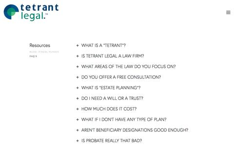 Screenshot of FAQ Page tetrantlegal.com - FAQ's — Tetrant Legal - captured May 6, 2017