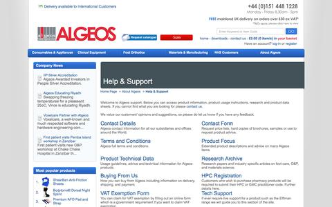Screenshot of Support Page algeos.com - Algeos Support - captured Aug. 14, 2019