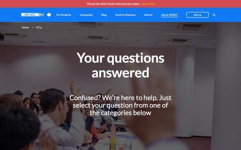 Screenshot of FAQ Page aiesec.ca - FAQs - AIESEC Canada - captured Feb. 4, 2016
