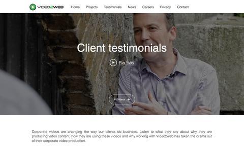 Screenshot of Testimonials Page video2web.co.uk - Client-testimonials | Bracknell | Video2web Ltd - captured Oct. 18, 2018