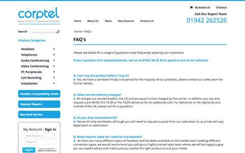 Screenshot of FAQ Page corpteluk.com - FAQ's - captured July 25, 2015
