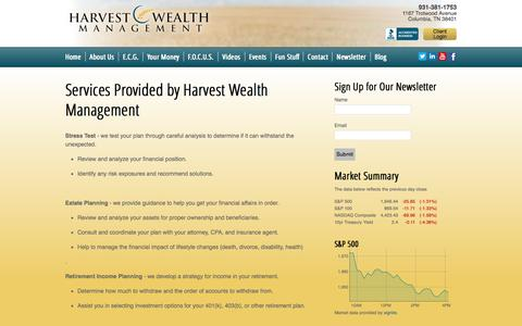 Screenshot of Services Page harvestwealth.com - Services Provided by Harvest Wealth Management | Harvest Wealth Management - captured Oct. 2, 2014