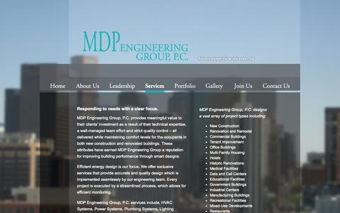 Screenshot of Services Page mdpeg.com - MDP Engineering Group, P.C. - Services - captured Oct. 4, 2014