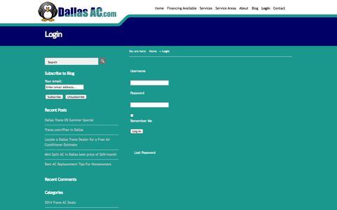 Screenshot of Login Page dallasac.com - Login - DallasAC.com - captured Oct. 5, 2014