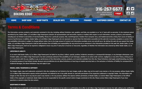 Screenshot of Terms Page bikersedge.net - Terms   Bikers Edge Powersports   Wichita Kansas - captured Nov. 22, 2016