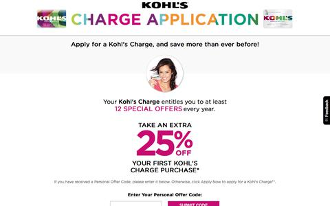 Screenshot of Landing Page kohls.com - My Kohl's Charge Card | Kohl's - captured June 30, 2017