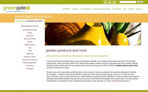 Screenshot of Products Page greengate.ca - Gardening Tools and Equipment - captured Oct. 3, 2014