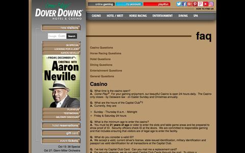 Screenshot of FAQ Page doverdowns.com - FAQ - Dover Downs Hotel & Casino - captured Oct. 12, 2017