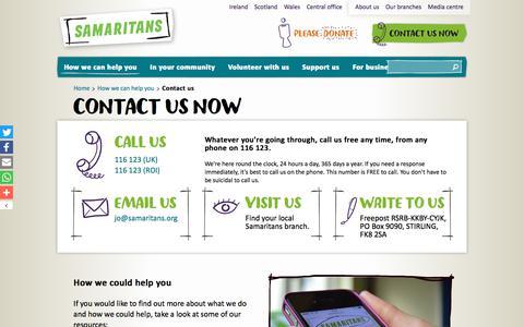 Screenshot of Contact Page samaritans.org - Contact us   Samaritans - captured Oct. 5, 2017
