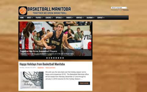 Screenshot of Home Page basketballmanitoba.ca - Basketball Manitoba - captured Dec. 29, 2015
