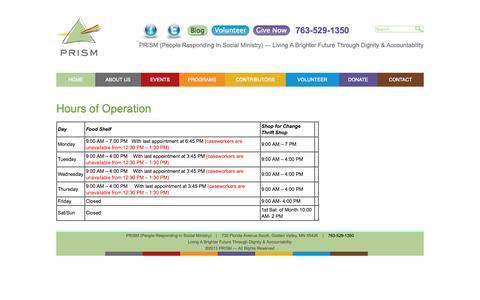 Screenshot of Hours Page prismmpls.org - PRISM Minneapolis Food Transportation & Financial Assistance - captured Nov. 1, 2014