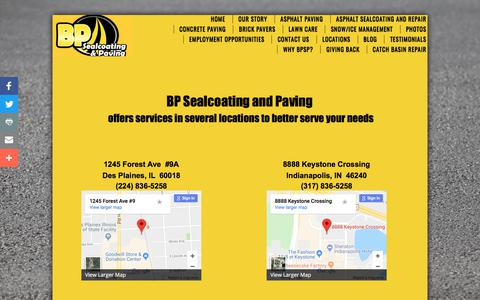 Screenshot of Locations Page bpsealcoatingandpaving.com - BP Sealcoating and Paving Locations - Milewaukee, WI; Rockford, IL; Chicago, IL; Indianapolis, IN; Madison, WI; - captured Aug. 1, 2018