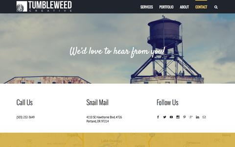 Screenshot of Contact Page tumbleweedpdx.com - Contact Us for WordPress Web Design & Development Service - captured Aug. 12, 2015