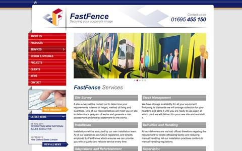 Screenshot of Services Page fastfence.co.uk - Services | Site Survey, Installations, Training | FastFence Contracting Ltd - captured Sept. 30, 2014