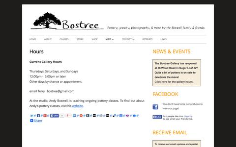 Screenshot of Hours Page bostree.com - Hours | The Bostree Studio  & Gallery - captured Oct. 5, 2014