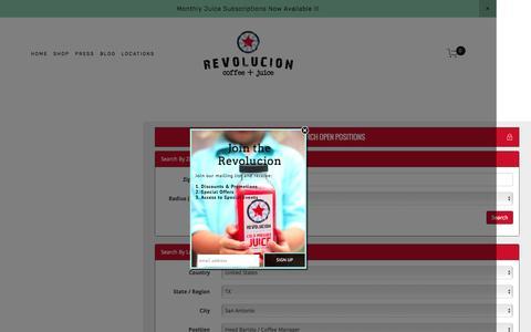 Screenshot of Jobs Page revolucionsa.com - careers — Revolucion Coffee + Juice - captured Feb. 15, 2016