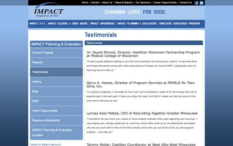 Screenshot of Testimonials Page impactinc.org - Testimonials - IMPACT Inc. - captured Feb. 2, 2016