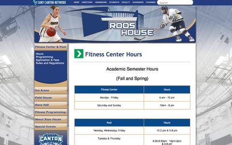 Screenshot of Hours Page canton.edu - Roos House - Fitness Center Hours - captured Sept. 23, 2018