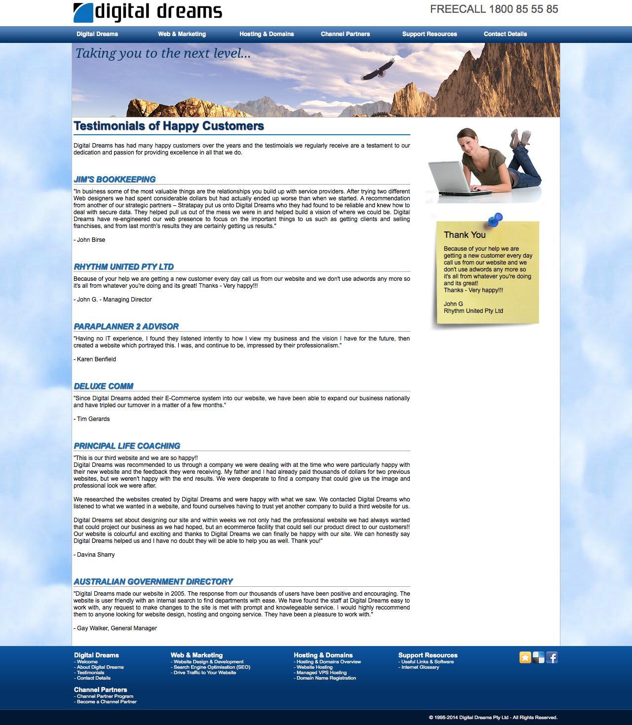 Screenshot of digitaldreams.com.au - Digital Dreams - Testimonials of Happy Customers - captured Sept. 30, 2014