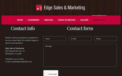 Screenshot of Contact Page edgesales.com - Contact Us – Edge Sales & Marketing - captured Sept. 27, 2018