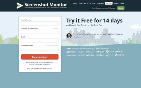 Screenshot of Signup Page screenshotmonitor.com - Free Signup - Online employee monitoring and time tracking - ScreenshotMonitor - captured June 11, 2017
