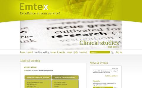Screenshot of Services Page emtex.be - Medical Writing - Emtex - captured Oct. 2, 2014