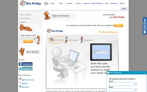 Screenshot of Signup Page getfriday.com - GetFriday - Life gets better with GetFriday - captured July 13, 2016