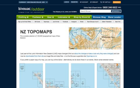 Screenshot of Maps & Directions Page bivouac.co.nz - New Zealand Topo Maps - Bivouac Online Store - captured Feb. 7, 2016