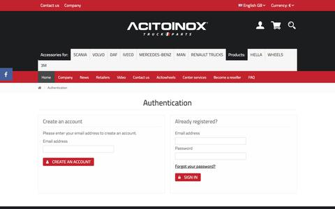 Screenshot of Login Page acitoinox.com - Accesso - Acitoinox - captured July 29, 2018