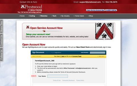 Screenshot of Signup Page prestwood.com - Prestwood IT: Open Service Account Now - captured Nov. 10, 2016