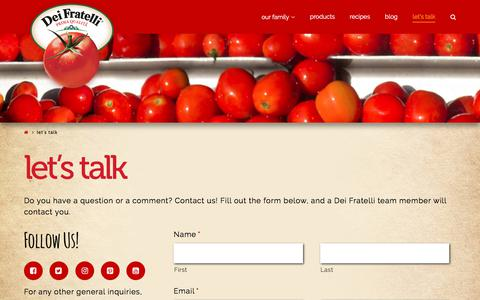 Screenshot of Contact Page deifratelli.com - Let's Talk - Dei Fratelli Tomatoes - captured June 24, 2017