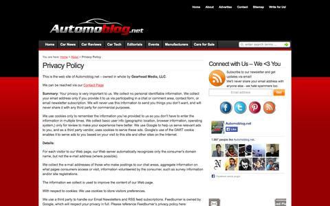 Screenshot of Privacy Page automoblog.net - Privacy Policy - captured Nov. 5, 2014