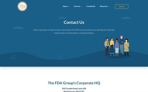 Screenshot of Contact Page thefdagroup.com - Contact Us | The FDA Group - captured July 6, 2019