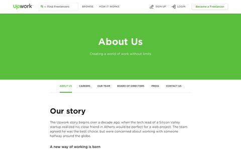 Screenshot of About Page upwork.com - About Us - Upwork - captured March 31, 2018