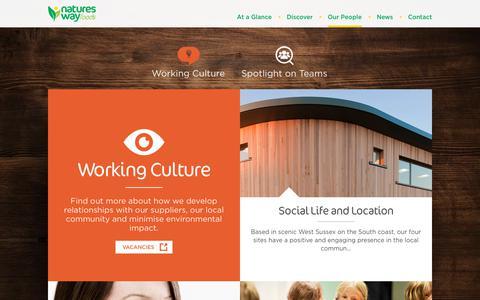 Screenshot of Team Page natureswayfoods.com - Working Culture | Natures Way Foods - captured Feb. 15, 2018